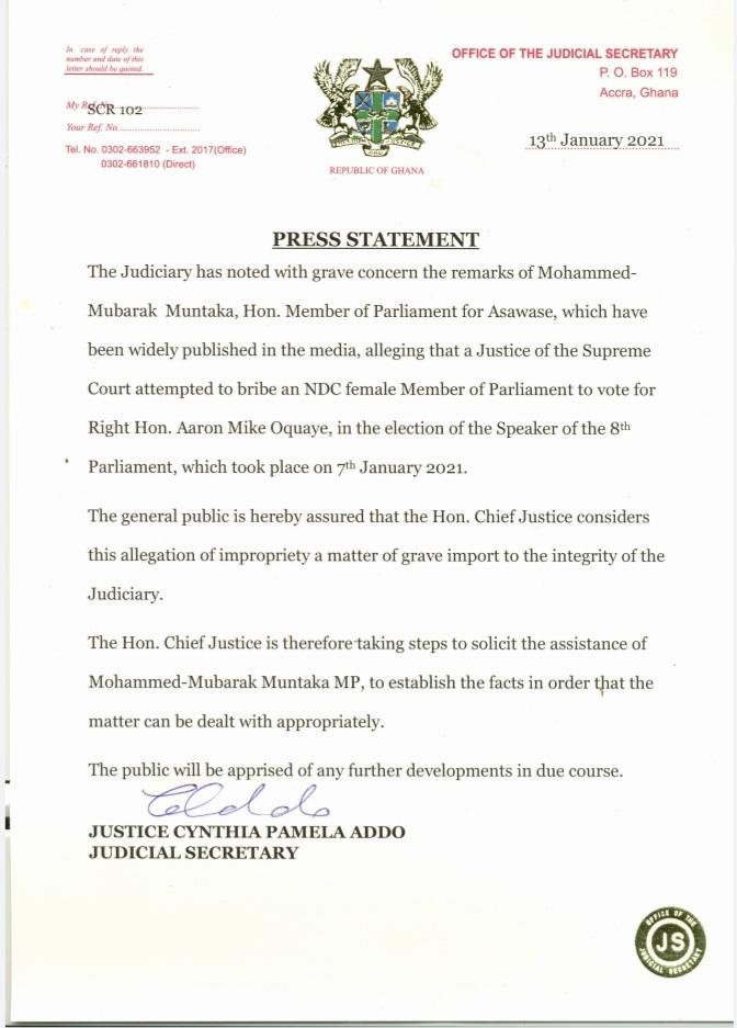 CJ To Probe Muntaka's Bribery Claim Against Supreme Court Judge 1